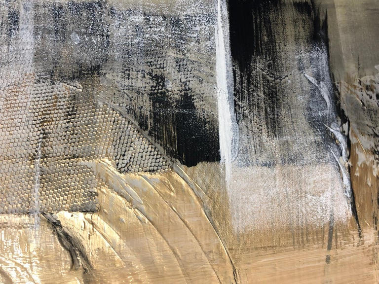 Gold Black Mixed Media on Canvas: Acrylic Stucco, Modeling Paste Heavy Texture  For Sale 2