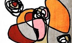 Orange Grey Mid Century Modern Painting Hand Embellished Giclee on Canvas