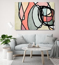 Pink Light Teal Mid Century Modern Painting Hand Embellished Giclee on Canvas