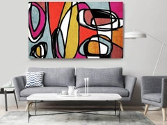 Red Yellow Blue Mid Century Modern Painting Hand Embellished Giclee on Canvas