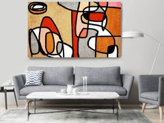 Red Orange Grey Mid Century Modern Painting Hand Embellished Giclee on Canvas