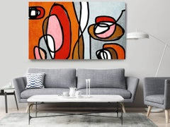 Red Grey Mid Century Modern Painting Hand Embellished Giclee on Canvas