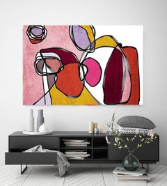 Pink Colorful Mid Century Modern Painting Hand Embellished Giclee on Canvas