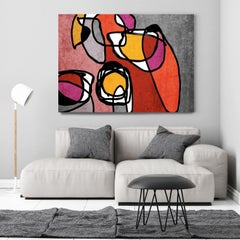 Red Black Mid Century Modern Painting Hand Embellished Giclee on Canvas