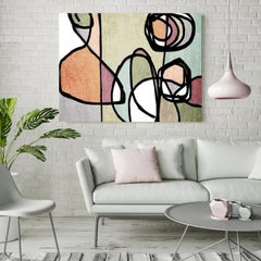 Sage Pink Grey Mid Century Modern Painting Hand Embellished Giclee on Canvas