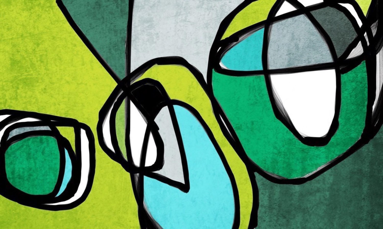 "Mid Century Modern Painting Green Aqua on Canvas 40x60"""