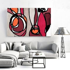 Vivid Red Mid Century Modern Painting Hand Embellished Giclee on Canvas