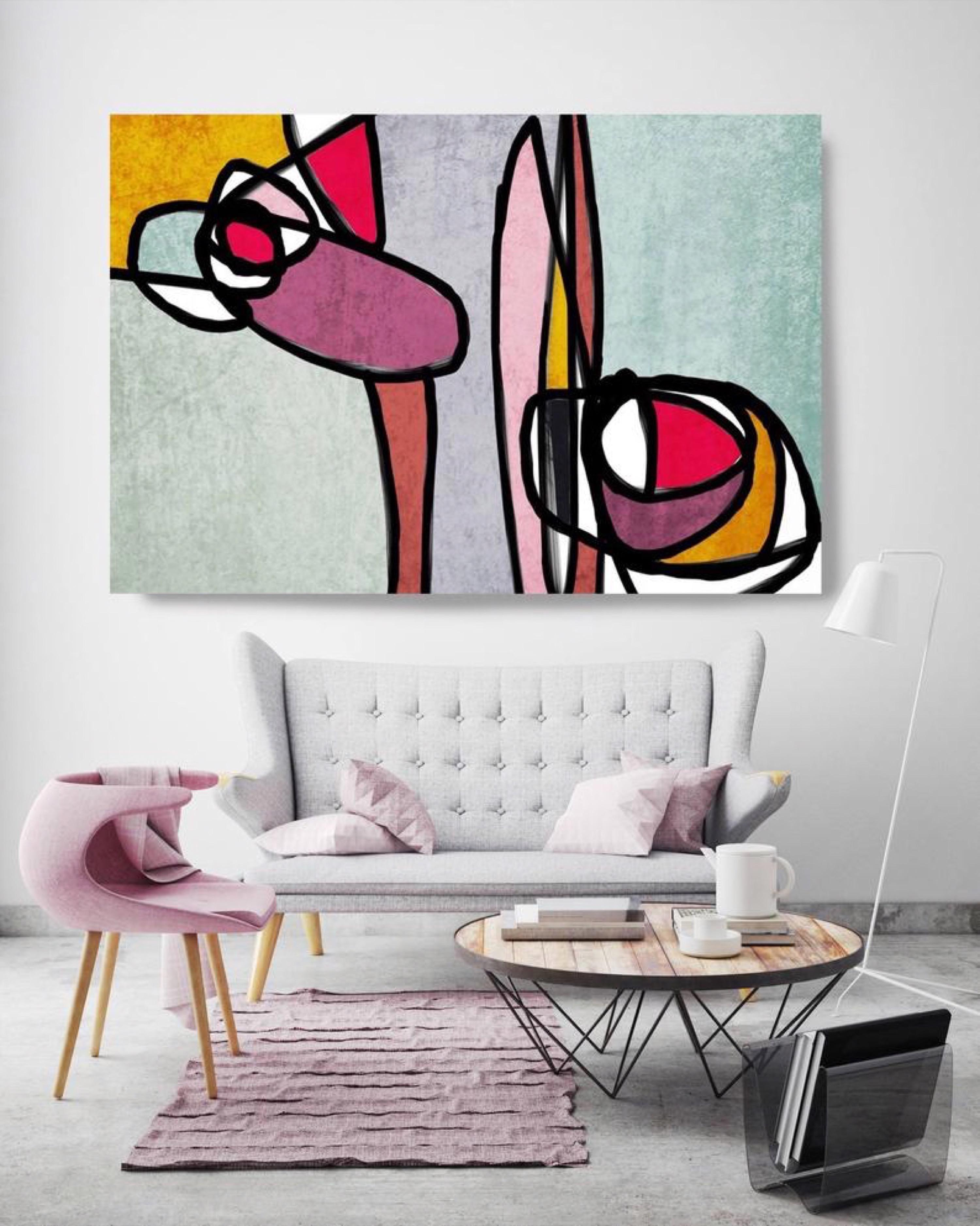 Mid Century Modern Teal Pink Yellow Mixed Media on Canvas
