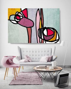 Teal Pink Yellow Mid Century Modern Painting Hand Embellished Giclee on Canvas