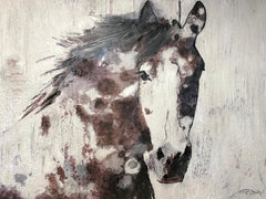 """Farmhouse Horse Painting, Textured on Canvas 36 H X 48"""" W Mixed Media"""
