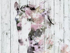 Pink White Horse Farmhouse Painting Hand Embellished Textured Giclee on Canvas