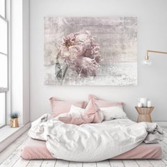 Romantic Peony Shabby Chic Pink Gray Hand Embellished Textured Giclee on Canvas