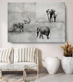 Elephant Rustic Grey Fine Art Hand Embellished Giclee on Canvas 60 x 40""
