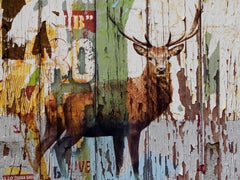 """Deer Farmhouse Rustic Fine Art Hand Embellished Giclee on Canvas 60 x 40"""""""