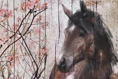 """Horse Le Muse Brown Rustic Fine Art Hand Embellished Giclee on Canvas 60 x 40"""""""