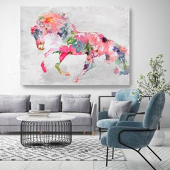 """Beautiful Floral Horse BOHO Fine Art Hand Embellished Giclee on Canvas 60 x 40"""""""