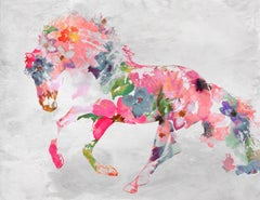"""Equestrian Art Beautiful Floral Horse BOHO Painting on Canvas 40x60"""""""