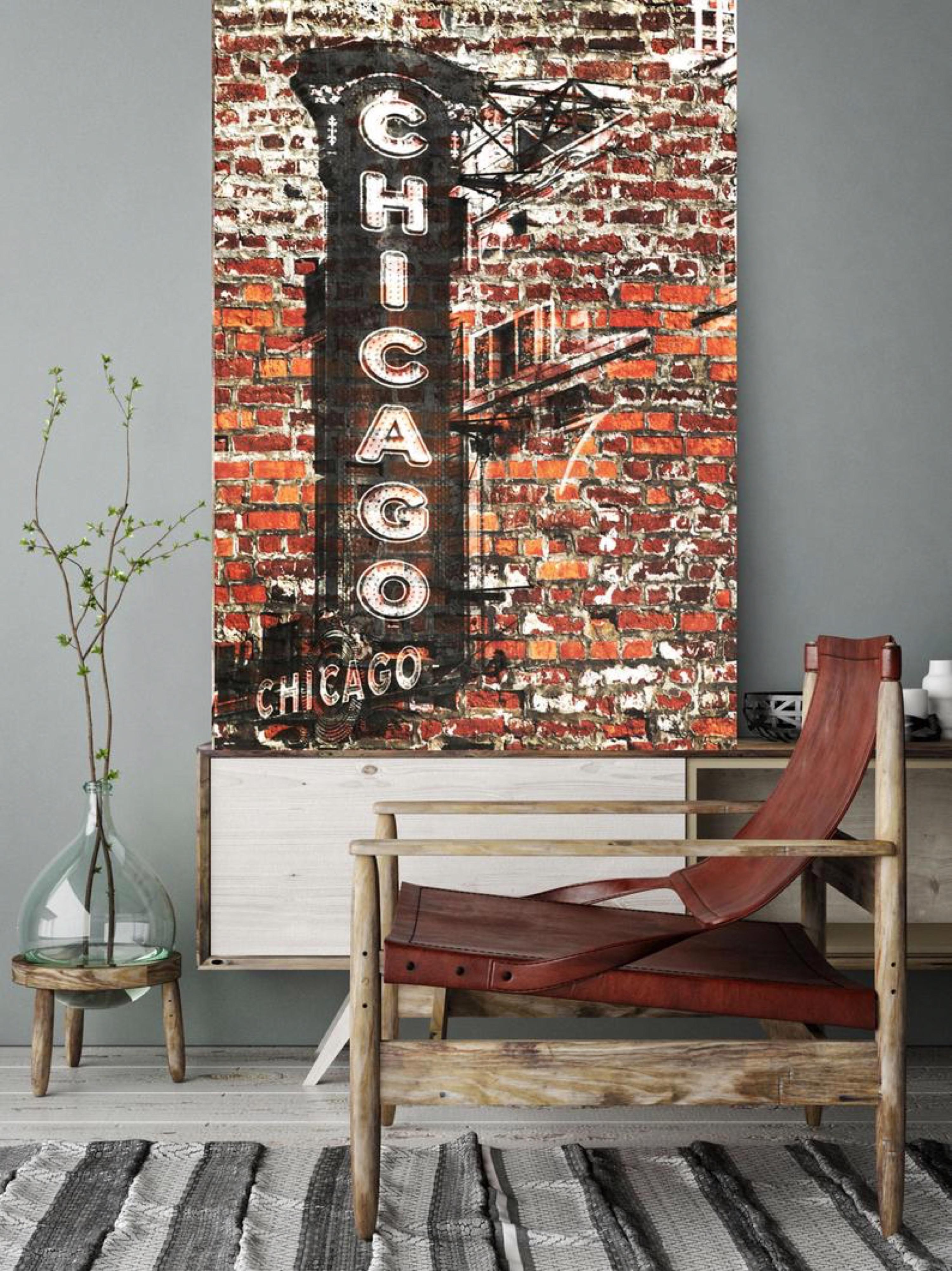 """Chicago Cityscape Mixed Media Painting on Canvas 38 x 56"""""""
