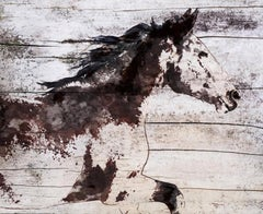 """Wild Running Horse Rustic Mixed Media Painting Canvas 38x56"""" Equestrian Art"""