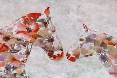 Love Between Horse Couple Painting BOHO Floral Hand Embellished Giclee on Canvas