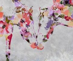 Loving Horses Bohemian Painting BOHO Floral Hand Embellished Giclee on Canvas