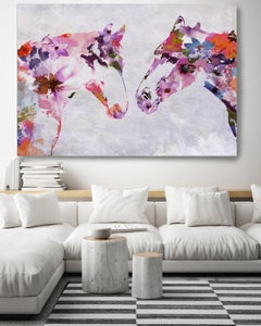 Two Loving Horses Bohemian Floral Fine Art Hand Embellished Giclee on Canvas