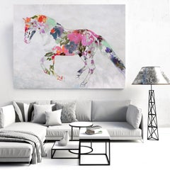 Bohemian Wedding Colorful Floral Fine Art Hand Embellished Giclee on Canvas