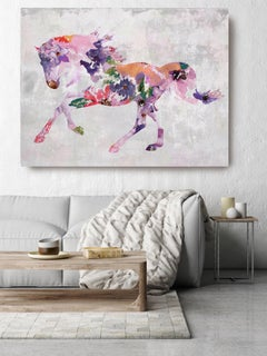 Painted Horse Colorful Floral BOHO Fine Art Hand Embellished Giclee on Canvas