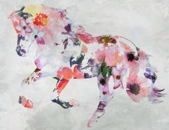 Pink Boho Floral Horse Fine Art Hand Embellished Giclee on Canvas