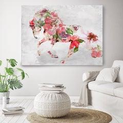 Beautiful Floral Horse 4 BOHO Fine Art Hand Embellished Giclee on Canvas