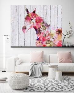 Fabulous Floral Horse BOHO Fine Art Hand Embellished Giclee on Canvas