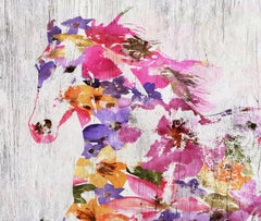 Floral Farm Horse BOHO Fine Art Hand Embellished Giclee on Canvas