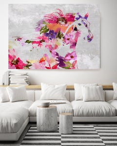 Floral Ranch Horse Painting BOHO Fine Art Hand Embellished Giclee on Canvas