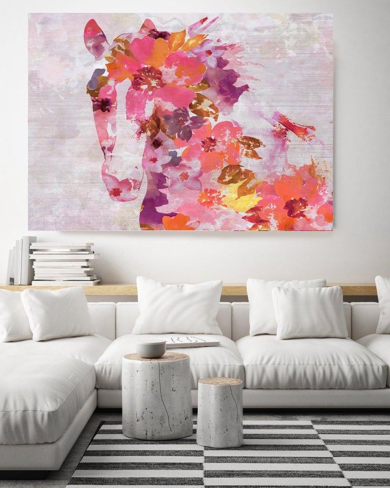 Vivid Floral Horse, BOHO Horse Fine Art Hand Embellished Giclee on Canvas - Contemporary Mixed Media Art by Irena Orlov