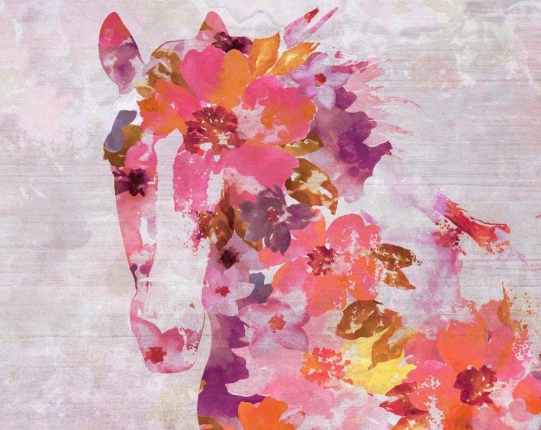 Vivid Floral Horse, BOHO Horse Fine Art Hand Embellished Giclee on Canvas - Mixed Media Art by Irena Orlov