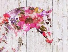 Floral BOHO Horse Fine Art Hand Embellished Giclee on Canvas
