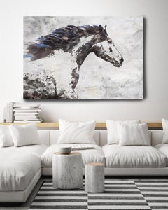 """Brown Blue Majestic Horse Fine Art Hand Embellished Giclee on Canvas 60 x 40"""""""