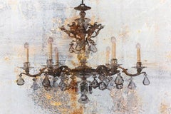 Gold Brown Rustic Chandelier Fine Art Hand Embellished Giclee on Canvas