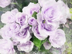 Sweet Violet Floral Rustic Painting Hand Embellished Giclee on Canvas