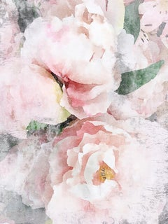 Blush Pink Peony Shabby Chic Hand Embellished Textured Giclee on Canvas