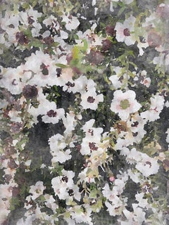 FLOURISH Watercolor Shabby Chic Hand Embellished Textured Giclee on Canvas