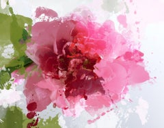 Sparkle Bright Hot Pink Floral Hand Embellished Textured Giclee on Canvas