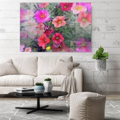 Floral Embrace Vintage Red Flower Painting Hand Embellished Giclee on Canvas