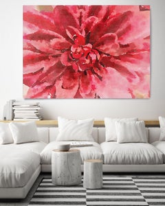 Red Watercolor Flower Painting Hand Embellished Giclee on Canvas