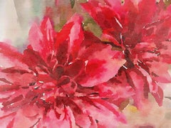 Red Flowers Painting Hand Embellished Giclee on Canvas