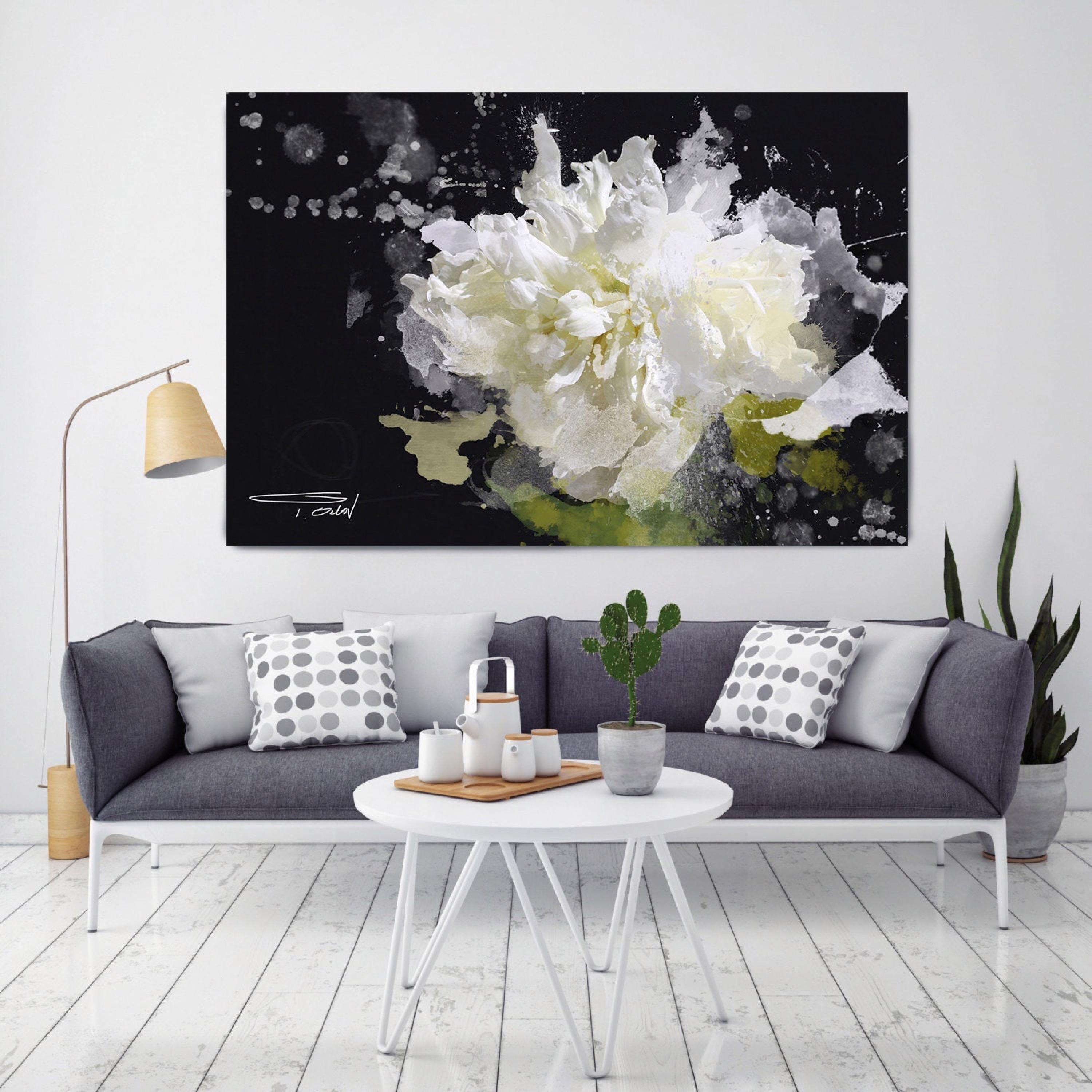 Blow out of the Wind Floral Painting Hand Embellished Textured Giclee on Canvas
