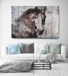 Wild Blue Horse Rustic Fine Art Hand Embellished Giclee on Canvas Irena Orlov