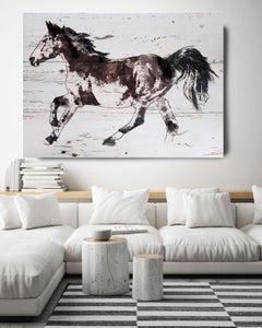 Brown Minimalist Horse Fine Art Hand Embellished Giclee on Canvas Irena Orlov