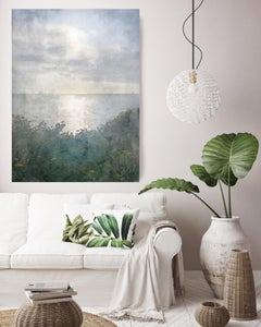 Seascape, Sunset Over the Ocean Painting Hand Embellished Giclee on Canvas