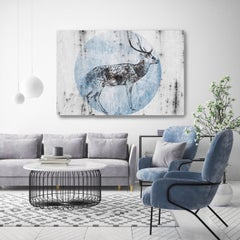 Blue Wild Deer Hand Embellished Fine Art Painting Giclee on Canvas